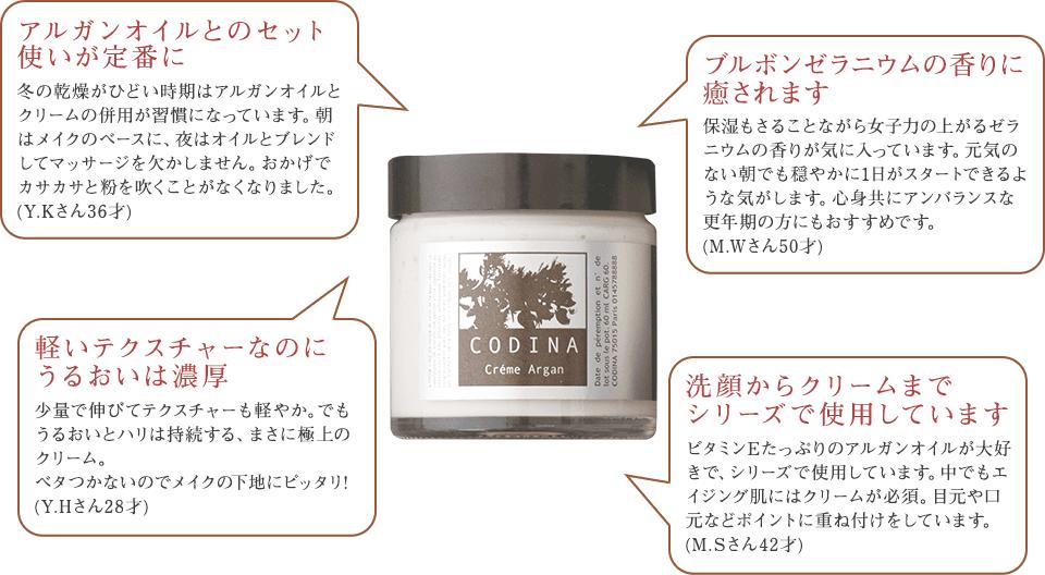 「アルガンオイルとのセット使いが定番に」「ブルボンゼラニウムの香りに癒されます」「軽いテクスチャーなのにうるおいは濃厚」「洗顔からクリームまでシリーズで使用しています」